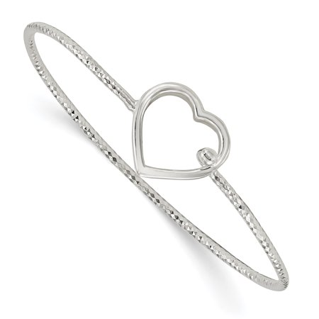 925 Sterling Silver Heart Interlocking Bangle Bracelet Cuff Expandable Stackable 6.75 Inch Hook Clasp Gifts For Women For Her