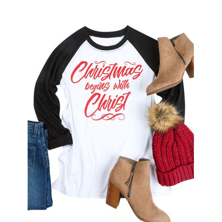 (Roykit Women Christmas begins with Christ Letter Print Color Block Raglan Sleeve Shirt Tops Blouse)