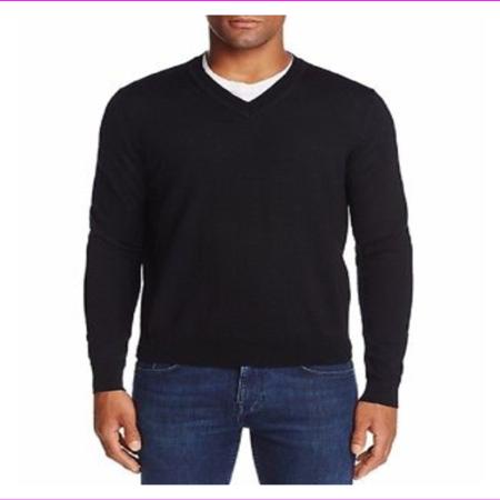 Merino Blend V-neck Sweater (Merino Wool V-Neck Sweater Deep Black Solid Large)