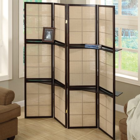 Folding Screen - 4 Panel / Cappuccino / 2 Display Shelves