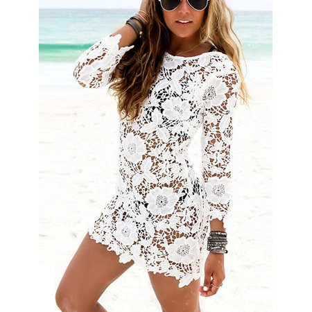 a21a2681e7 dailymall - Women s Bathing Suit Lace Crochet Bikini Swimwear Cover Up Beach  Dress - Walmart.com