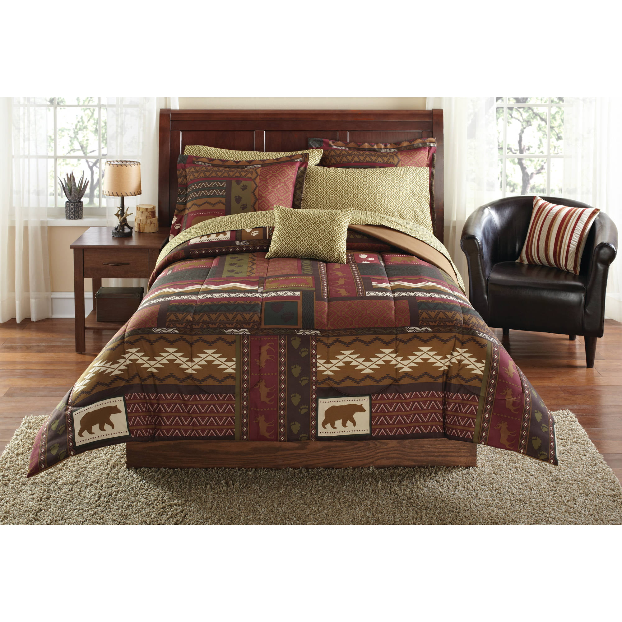 Brown bedding sets queen - Mainstays Cabin Bed In A Bag Coordinated Bedding Set