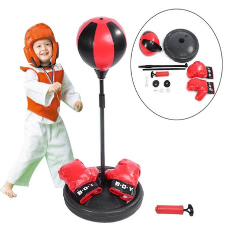 Kids Punching Bag Inflatable Adjule Freestanding Sd With Boxing Gloves And Pump