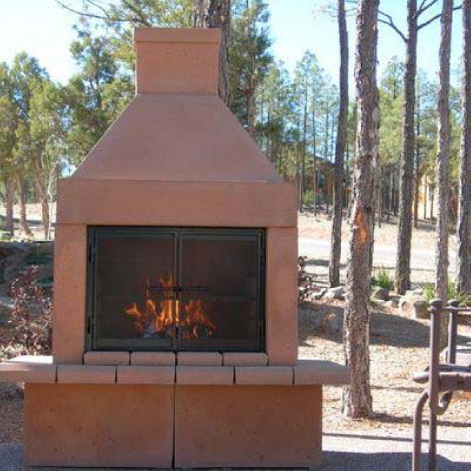 Mirage Stone Wood Burning Outdoor Fireplace with BBQ