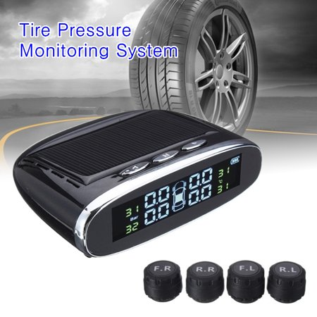 4 Sensors TPMS Solar Tire Pressure Monitoring System Power Car Auto HD Digital LCD Monitor Wireless