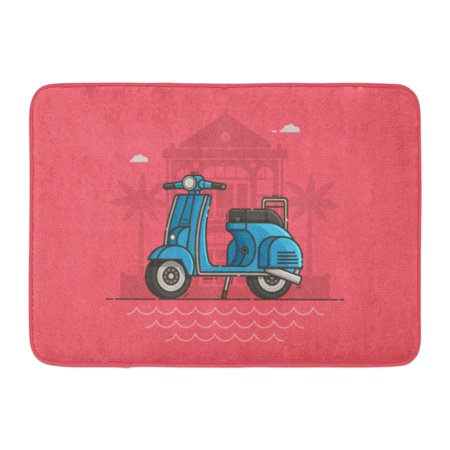 GODPOK Blue Scooter Parked Near Villa and Sea Beach Motor Bike on Road Motorcycle Standing Tropical Seaside Rug Doormat Bath Mat 23.6x15.7 inch