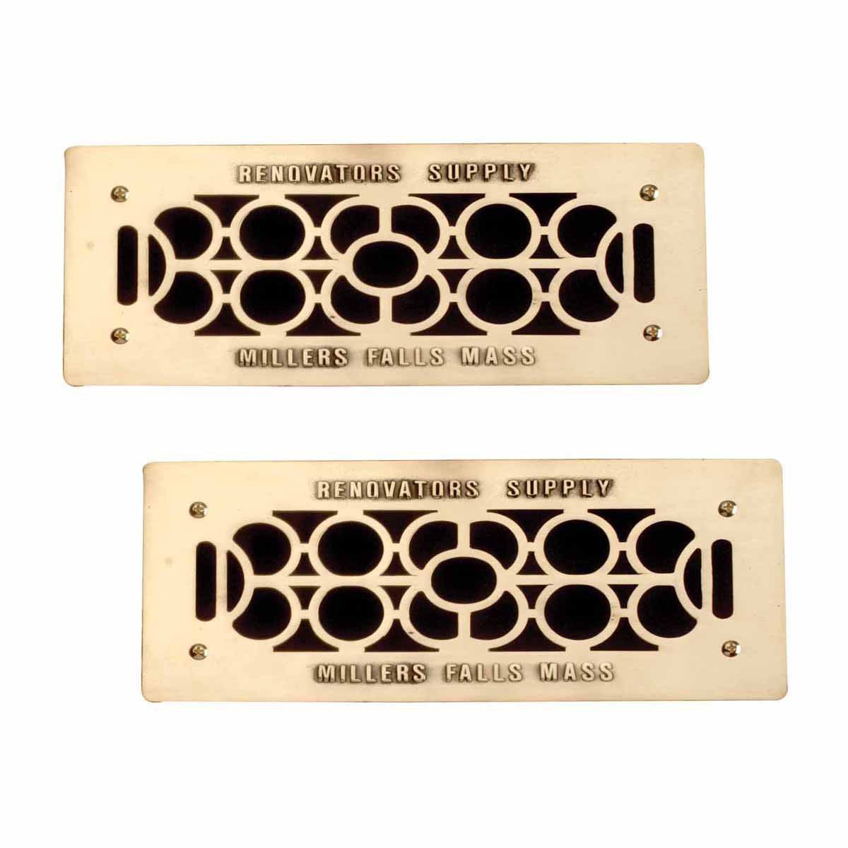 """2 Floor Wall Heat Air Grill Vent Grate Solid Brass 4.75 """"x 11"""" 