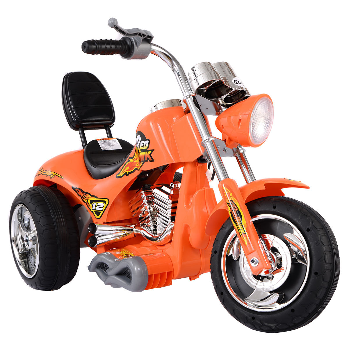 Costway 3 Wheel Harley Style Kids Ride On Motorcycle 12V Battery Powered Electric Toy