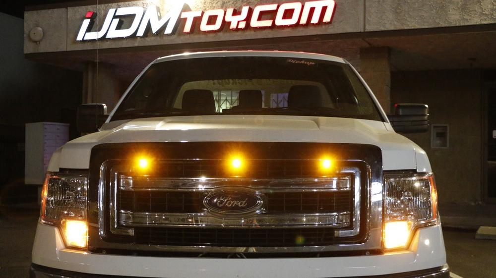 Universal Mini LED Amber Hood Grille Light Bumper For Ford SVT Raptor Truck SUV