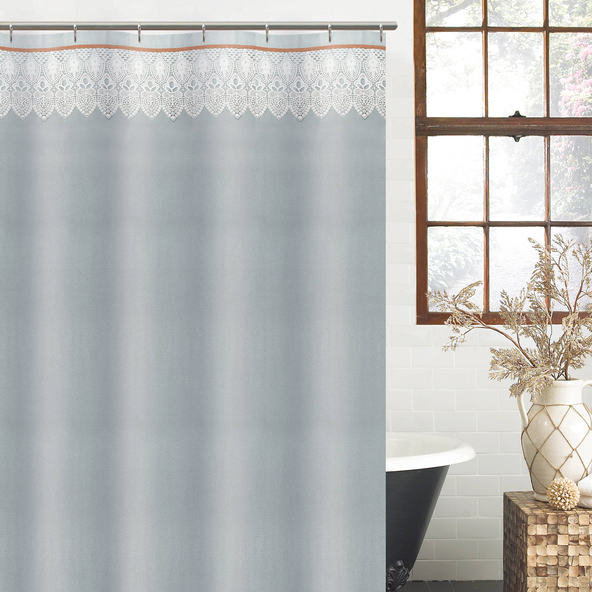 "Excell Abbey 70"" x 72"" Fabric Shower Curtain, Light Blue"