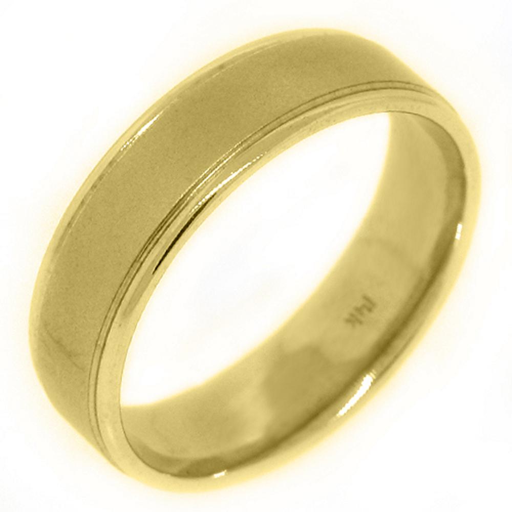 14K Yellow Gold Mens Wedding Band 6mm Sand Finish