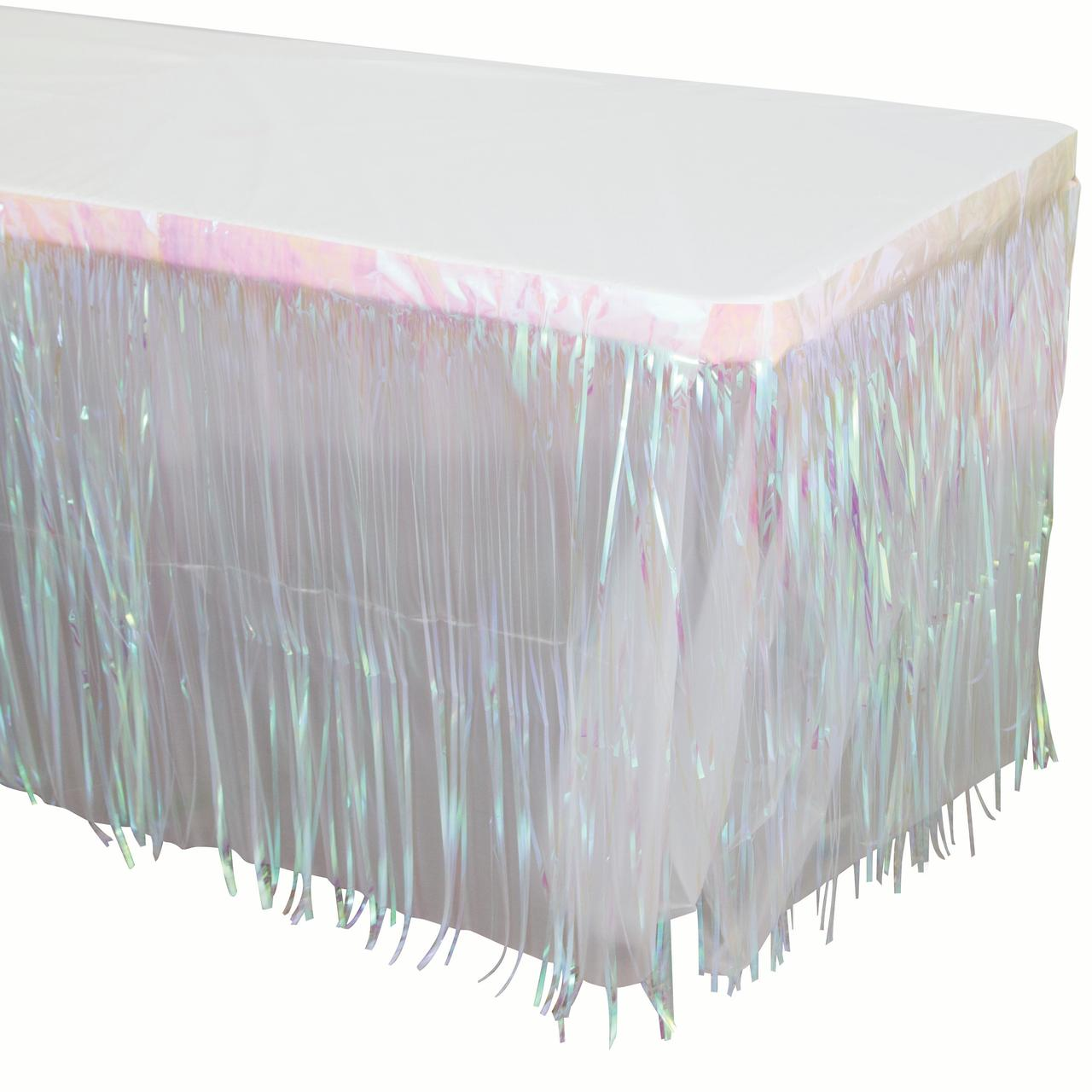 Way to Celebrate Iridescent Foil Fringe Table Skirt