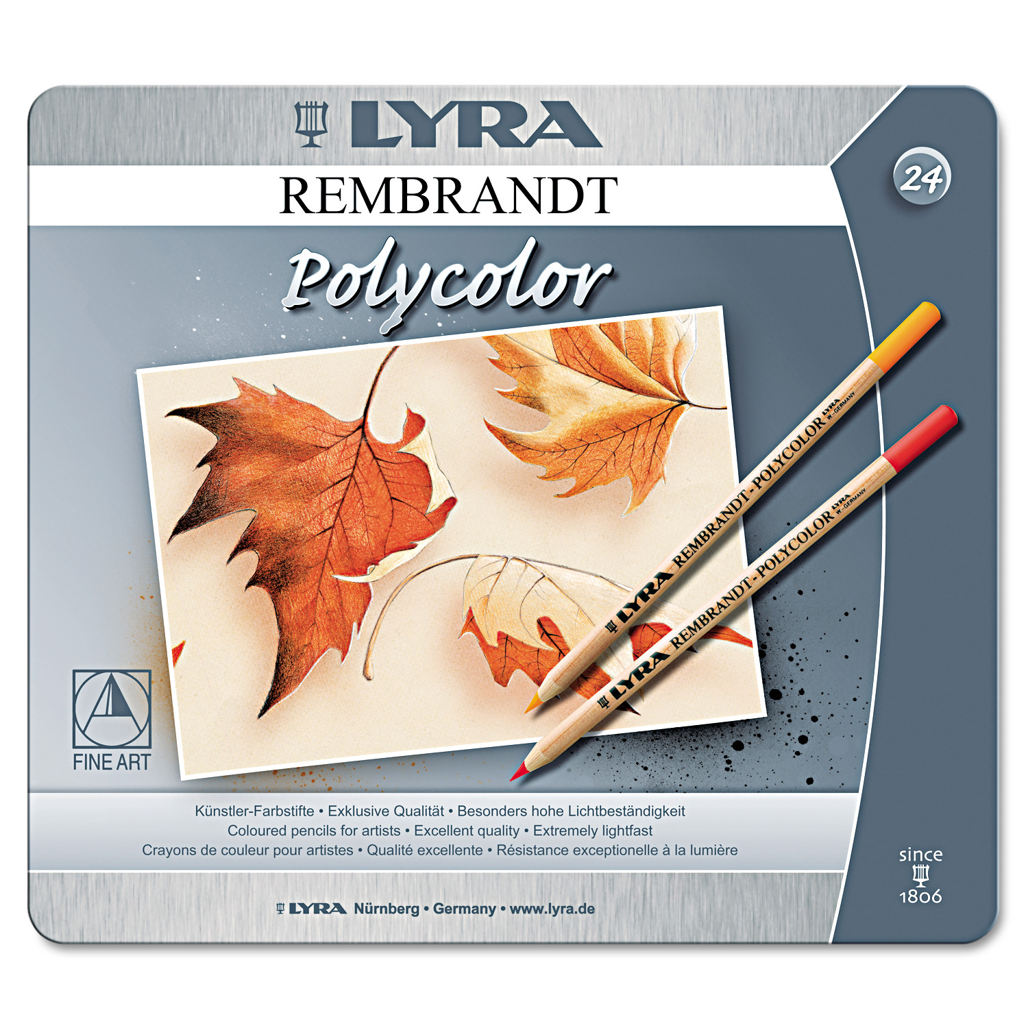 LYRA Artist Colored Woodcase Pencils, Assorted, 24/Pack -DIX2001240