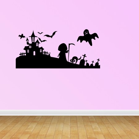 Wall Decal Quote Halloween Scene Silhouette Halloween Decal Halloween Decoration Witch Decoration Wall Sticker JP655 - Halloween Quotes Pinterest