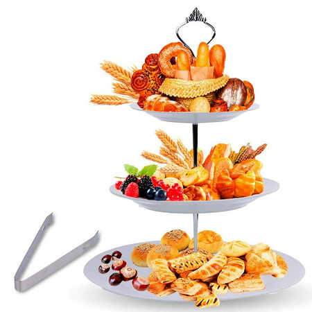 3 Tier Serving Tray Stand – Round Cupcake Dessert Party Platter with BONUS Serving Metal - Round Metal Tray