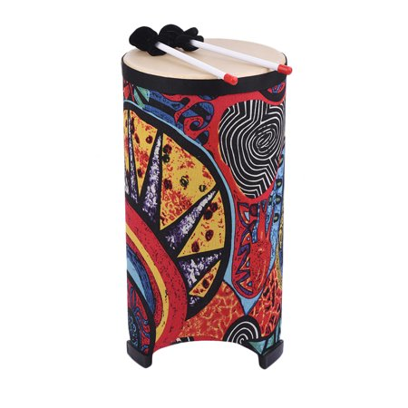 10 Inch Floor Drum Conga Konga Drum Hand Drum 3-feet Design with Attractive Fabric Art Surface Percussion Instrument for Gathering Rhythm (Kokopelli Design Drum)