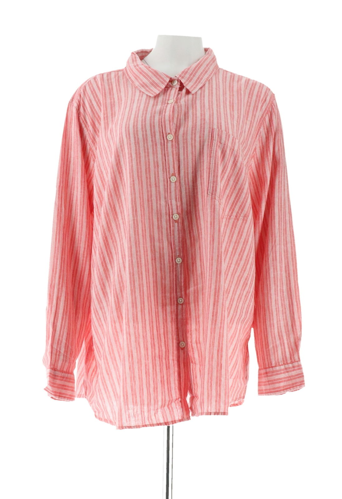 Denim & Co Linen Blend Button Long Slv Shirt A307958
