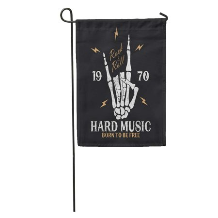 NUDECOR Born Rock Music Skeleton Hand and Lightning Vintage N Roll Garden Flag Decorative Flag House Banner 12x18 inch - image 1 de 2