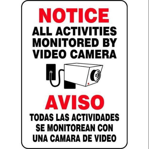 ACCUFORM SIGNS SBMASE809VP Notice Security Sign,Bilingual,14 x 10 G4143456