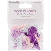 Dovecraft Back To Basics Berry Blush Mini Ribbon Bows, 20pk, Assorted Satin