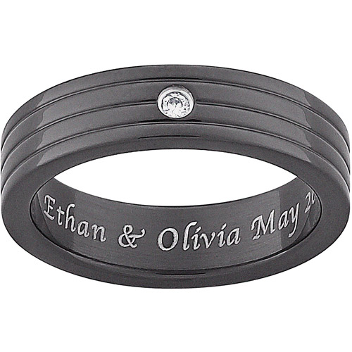 Personalized Men's CZ Engraved Wedding Band in Black Titanium
