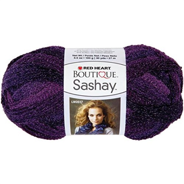 red heart boutique sashay metallic yarn, amethyst