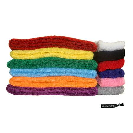 Kenz Laurenz Sweatbands 12 Terry Cotton Sports Headbands Sweat Absorbing Head Band You Pick