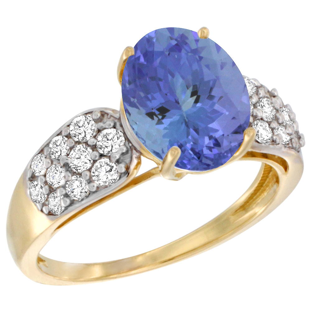 14k Yellow Gold Natural Tanzanite Ring Oval 10x8mm Diamond Accent, 7 16inch wide, size 5.5 by Gabriella Gold