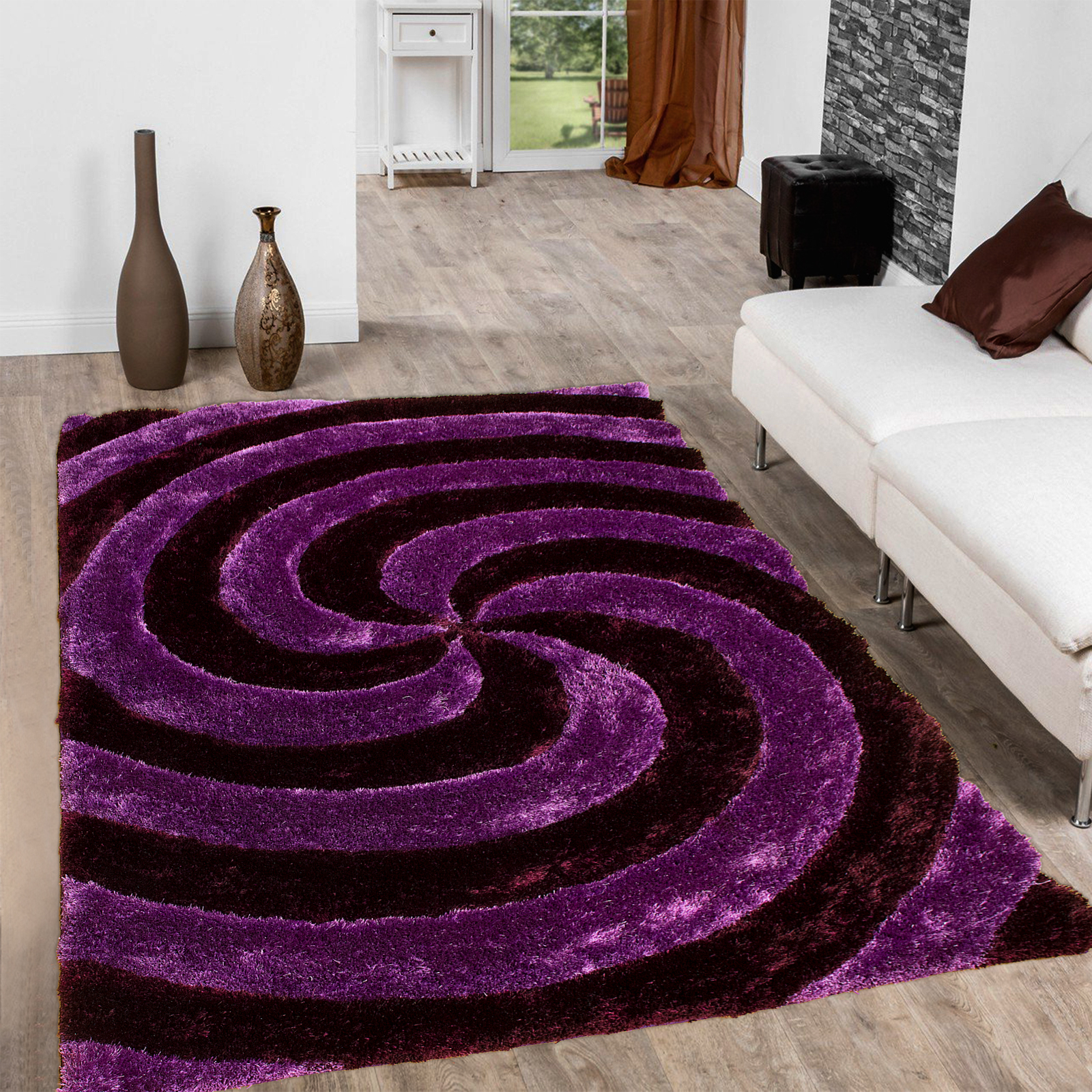 Allstar Purple Shaggy Area Rug With 3d Purple Spiral Design Contemporary Formal Casual Hand Tufted 7 6 X 10 5 Walmart Com Walmart Com