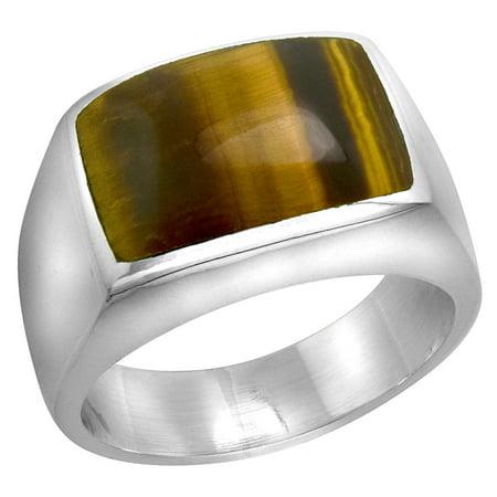Sterling Silver Tiger Eye Ring for Men Rectangular Domed Solid Back Handmade, sizes 9 - 13