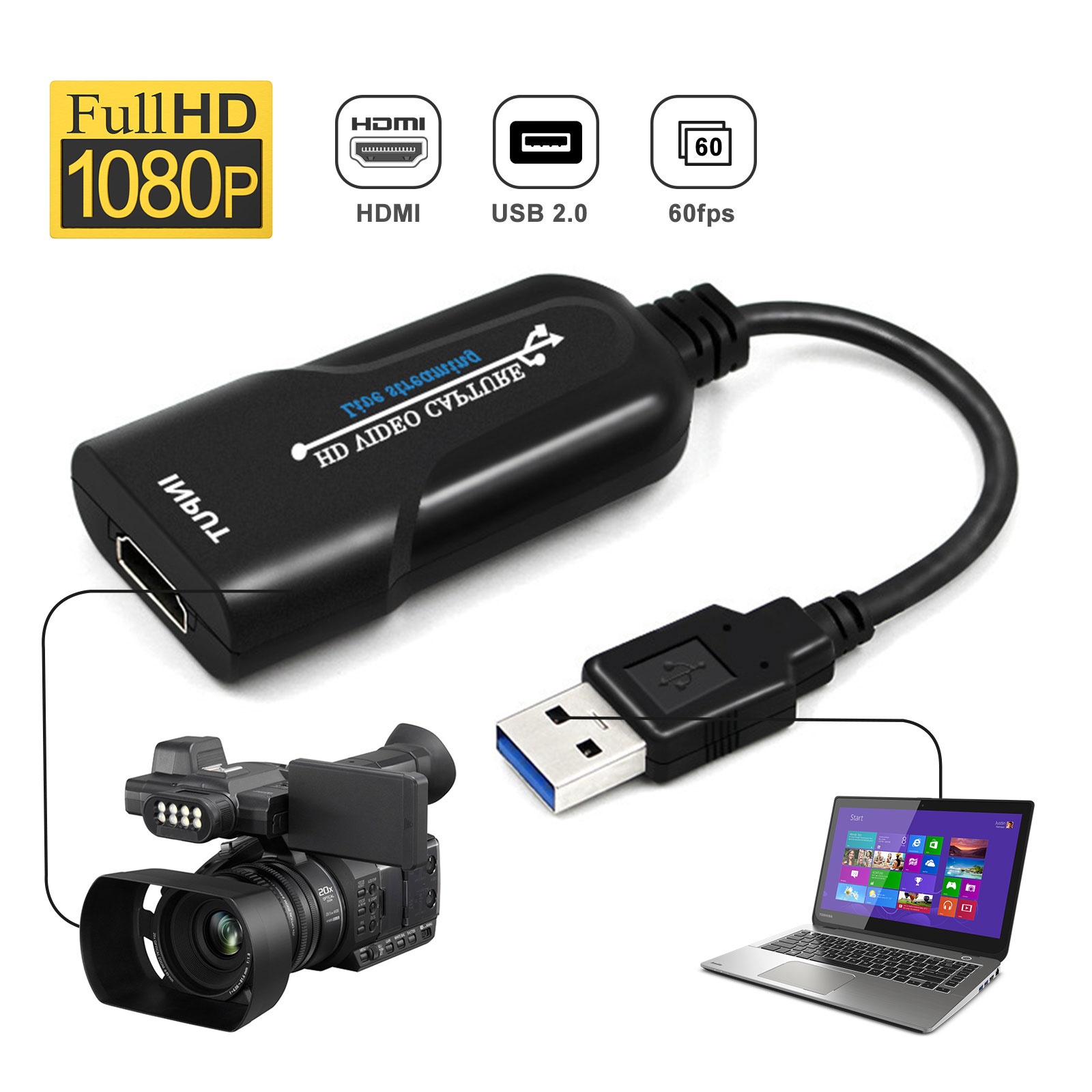 Video Conference or Live Broadcasting Teaching Etermal Video Capture Cards Audio Capture Adapter HDMI to USB 2.0 High Definition 1080p 30fps Record Directly to Computer for Gaming Streaming