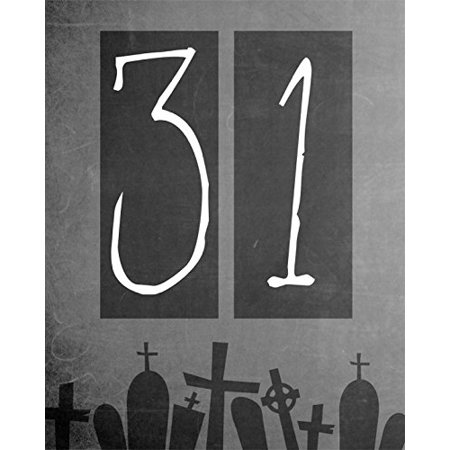 31 Print Black And White Graveyard Picture Scary Date Design Halloween Decoration Wall Hanging Seasonal Poster - Halloween City Opening Date