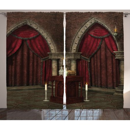 Ambesonne Gothic House Decor Graphic Print And Text Semi Sheer Rod