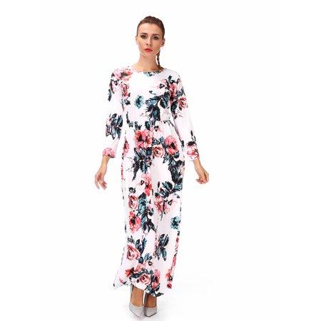Women's Floral Long Sleeve Maxi Dress Hight Waistline Empire Waist With Pocket