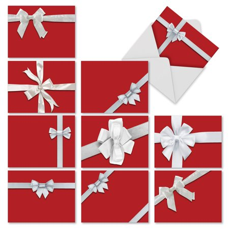 M2262 TIE ONE ON' 10 Assorted Merry Christmas Notecards Featuring Images Of Red-Wrapped Gift Boxes Tied With White Bows with Envelopes by The Best Card Company ()