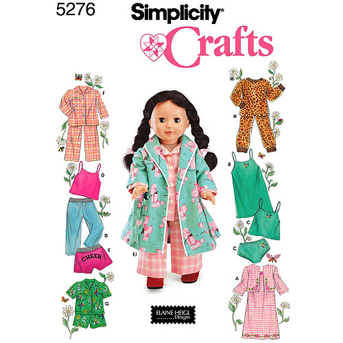Simplicity Patterns Clothes For 18 Fashion Doll, One Size