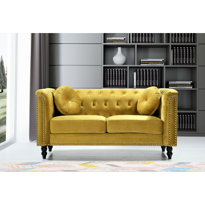 Whetzel Chesterfield 64 Rolled Arms Loveseat Strong Yellow Walmart Com Walmart Com
