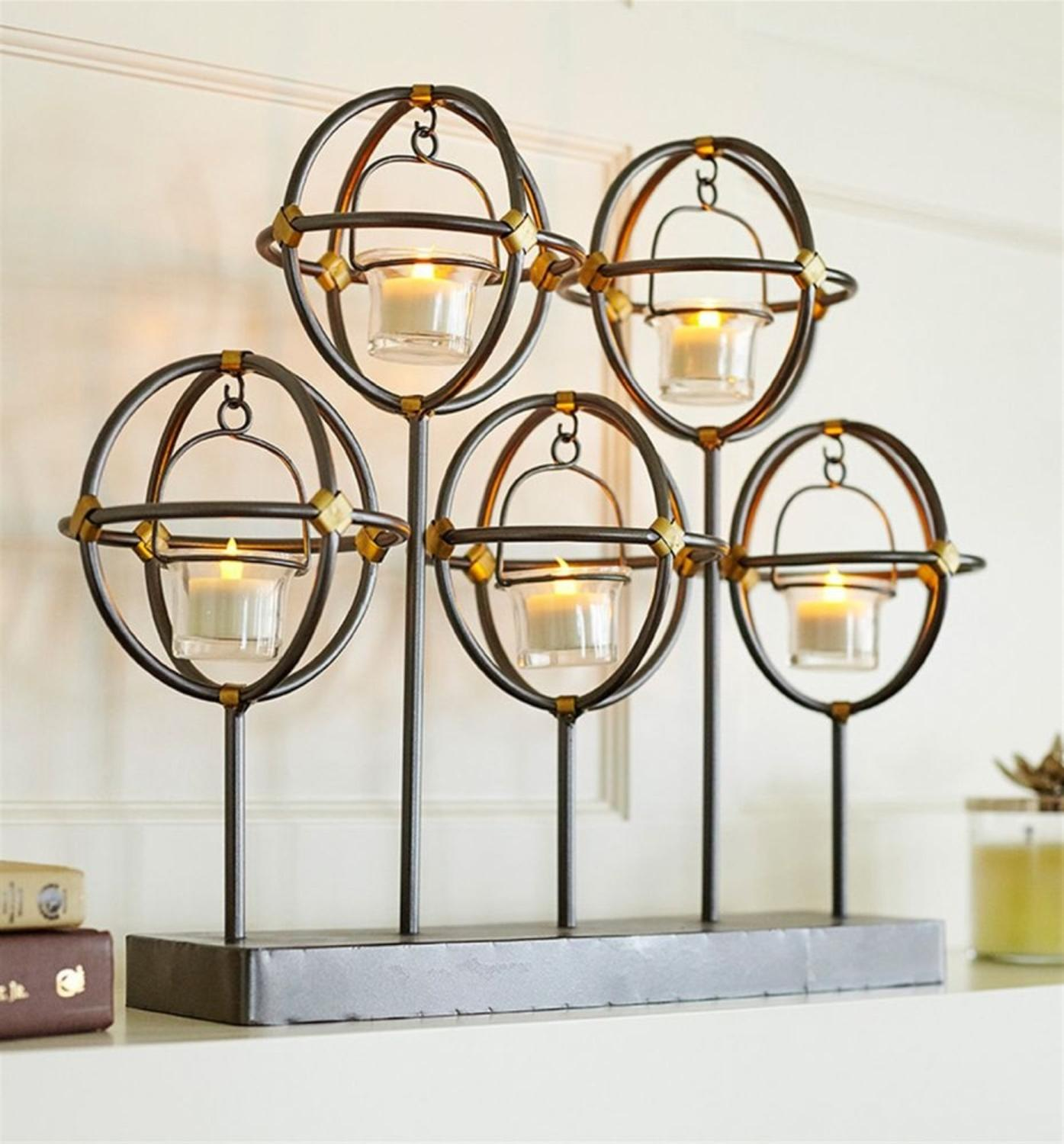 """Set of 2 Spherical Contemporary Hanging Tea Light Holder Table Piece 19.5"""""""