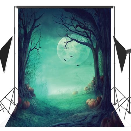 Halloween Party Photo Backdrop (GreenDecor Polyster 5x7ft Halloween Pumpkin Horror Nights Moon Mysterious Forest Costume Party Masquerade Decoration Photo Backdrops Studio Background Studio)