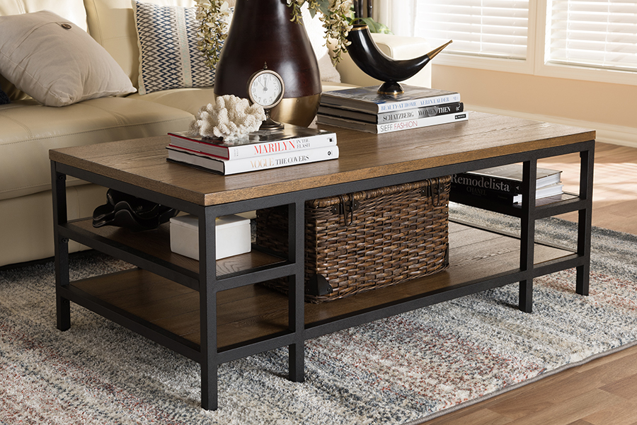 Baxton Studio Caribou Rustic Industrial Style Oak Brown Finished Wood and Black Finished Metal Coffee Table by Wholesale Interiors