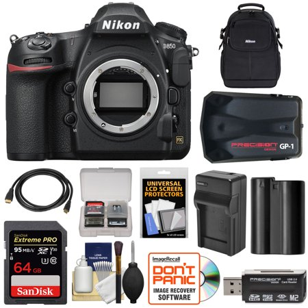 Nikon D850 Wi-Fi 4K Digital SLR Camera Body with 64GB Card + Battery + Charger + Case + GPS Adapter + Kit ()