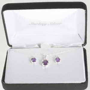 Sterling Silver Amethyst CZ Pendant & Stud Earring Jewelry Set Amethyst Citrine Jewelry Set