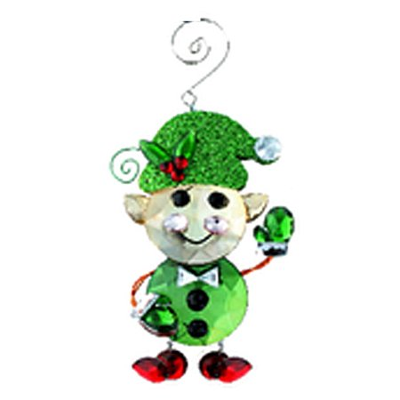 Green Faux Crystal Elf Christmas Ornament - By - Elf Christmas Ornaments