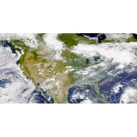August 7 2000   Satellite View Of North America Smoke Is Visible In Several Locations The Most Prominent Plumes Are Over Idaho Montana South Dakota Manitoba And Hudson Bay Poster Print