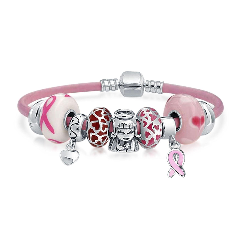 12 Bangle Bracelets with Together Pink Ribbon Charms 12 Bracelets