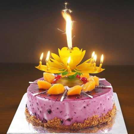 Birthday Cake Flower Candles With Happy Music Rotating Setup