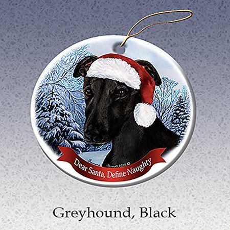 Holiday Pet Gifts Black Greyhound Santa Hat Dog Porcelain Christmas Tree - Black Christmas Tree Ornaments