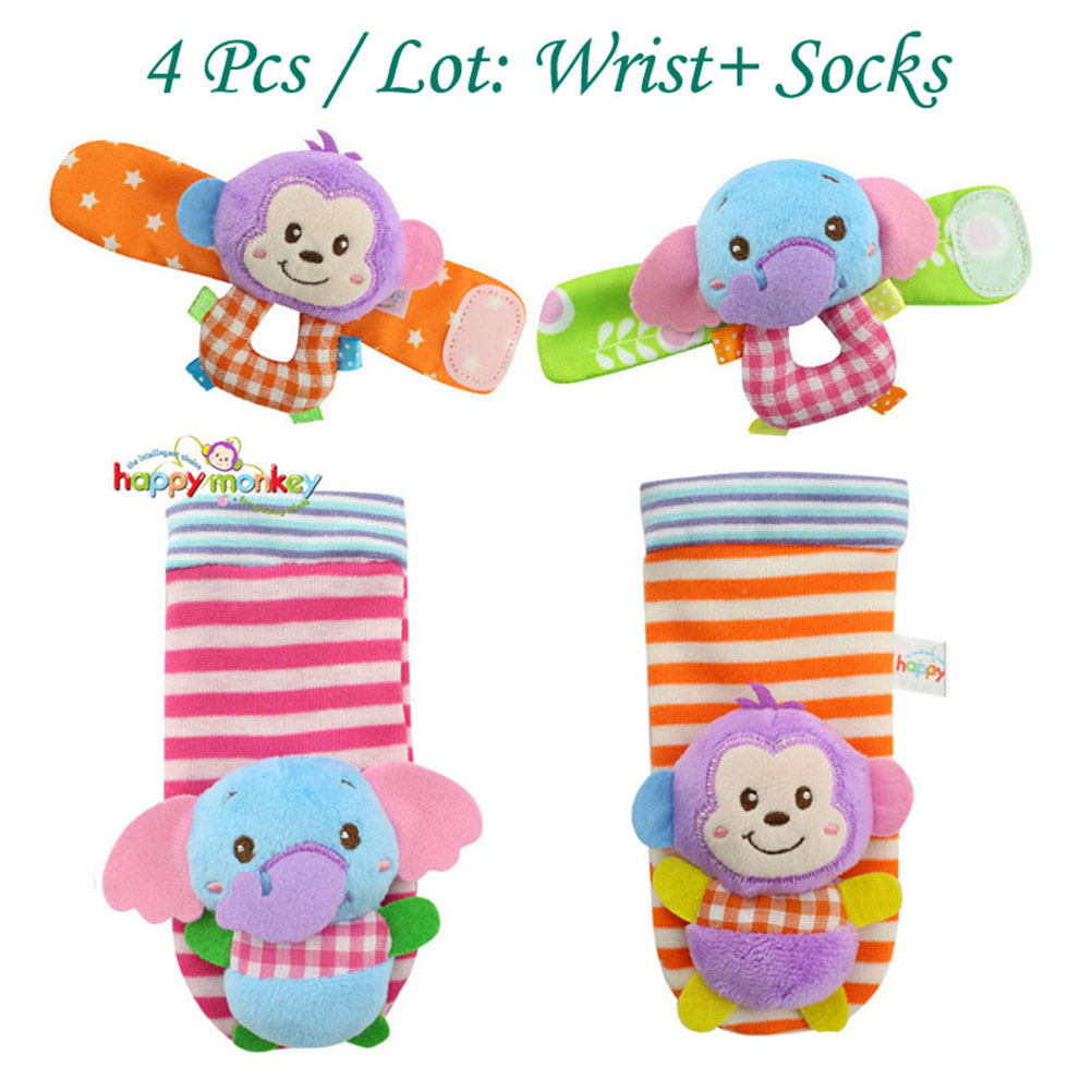Baby Animal Wrist Rattles Infant Hands Foots Finders Soft Developmental Toys (Monkey and Elephant), 4pcs Pack