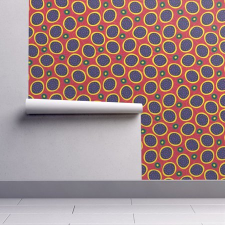 Wallpaper Roll Or Sample Dots African Inspired Tribal Nature Floral Abstract