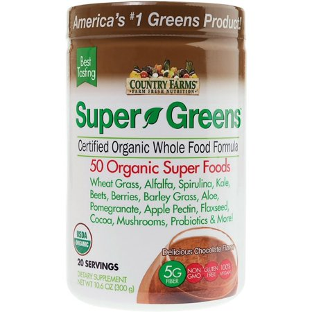 2 Pack - Country Farms Super Green Drink Mix, Delicious Chocolate Flavor 10.6 oz